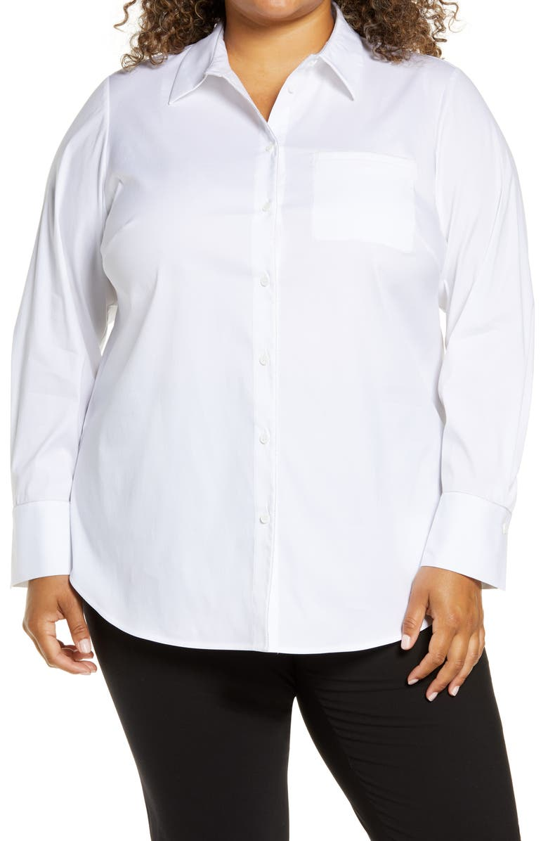 LAFAYETTE 148 NEW YORK Paget Stretch Cotton Blouse, Main, color, 100