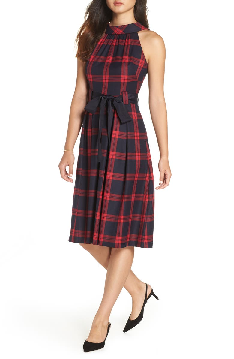 1901 Jacquard Fit & Flare Dress, Main, color, RED- NAVY PLAID