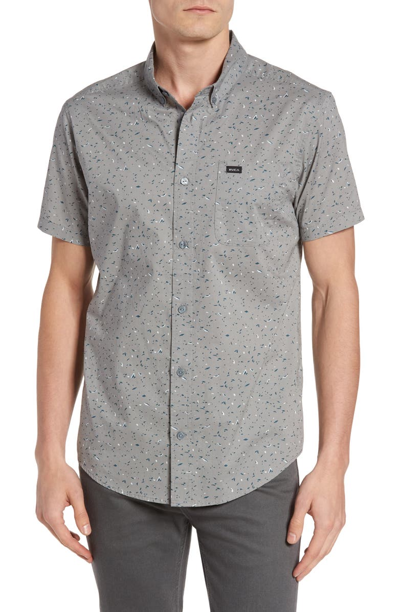 RVCA Galaxy Spatter-Print Woven Shirt, Main, color, MONUMENT