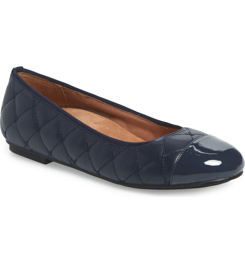 VIONIC Desiree Flat, Main, color, NAVY LEATHER