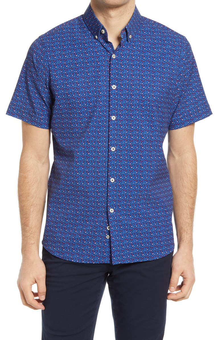 MOVE PERFORMANCE APPAREL Regular Fit Short Sleeve Button-Up Performance Shirt, Main, color, NAVY