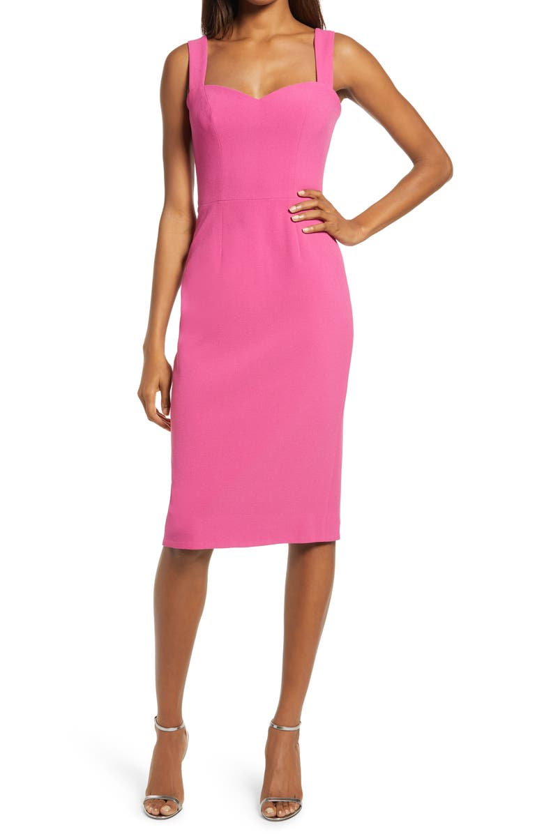 DRESS THE POPULATION Nicole Sweetheart Neck Cocktail Dress, Main, color, HIBISCUS