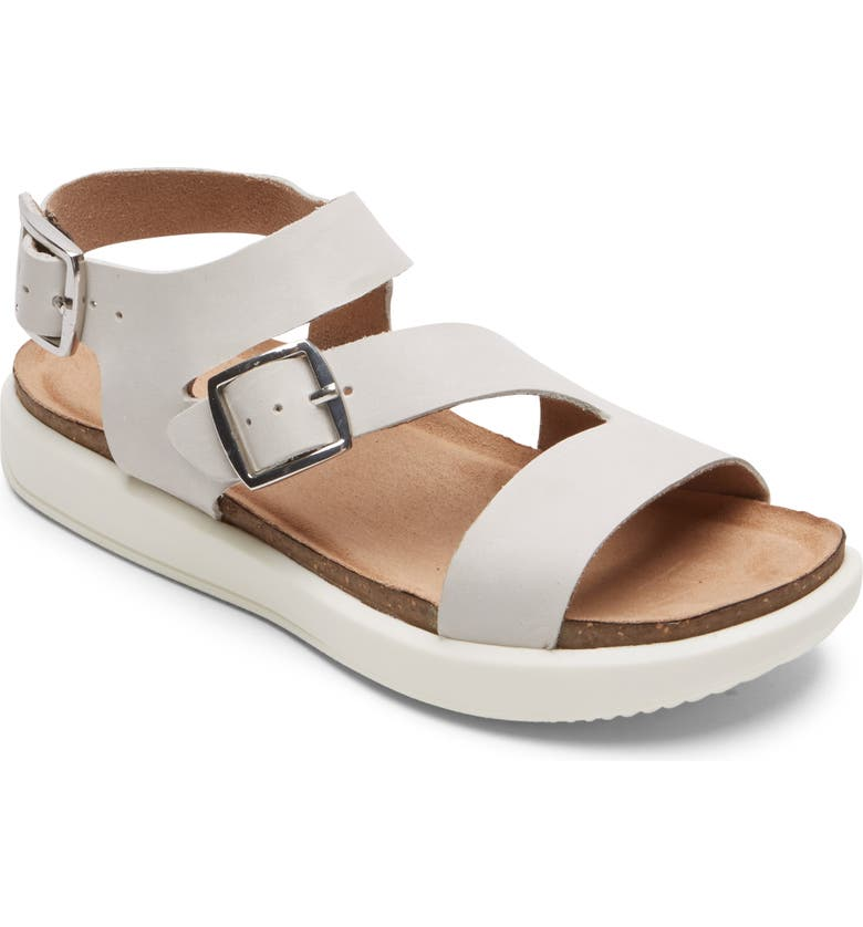 ROCKPORT Kells Bay Strappy Sandal, Main, color, WHITE NUBUCK LEATHER