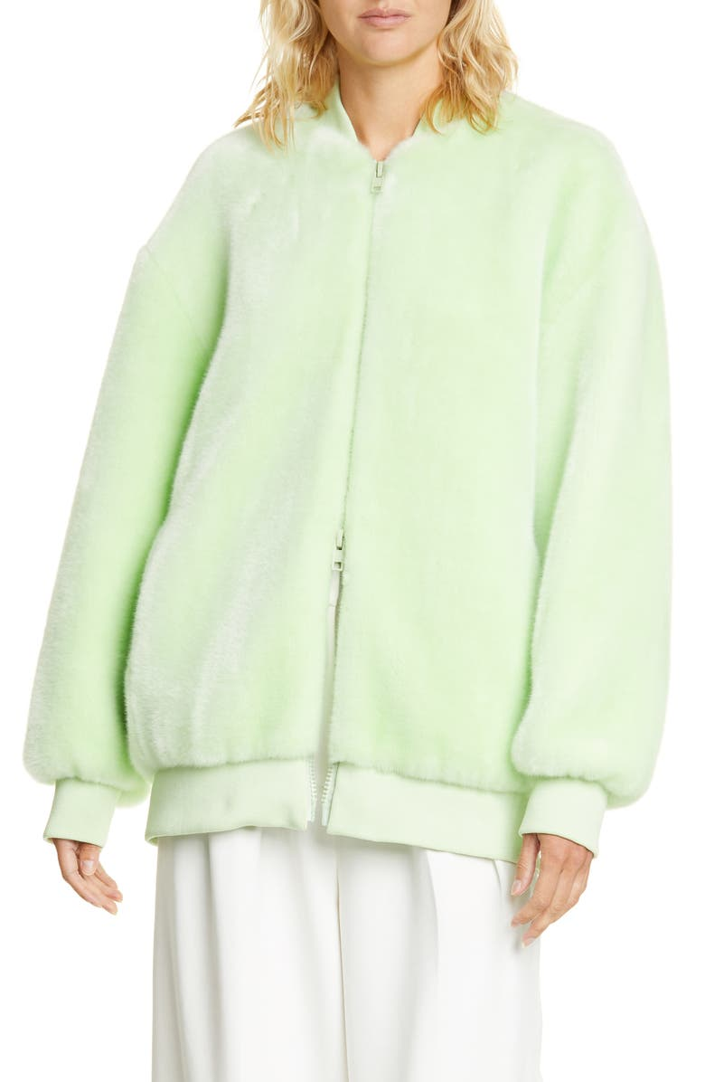 TIBI Oversize Faux Fur Bomber Jacket, Main, color, 332