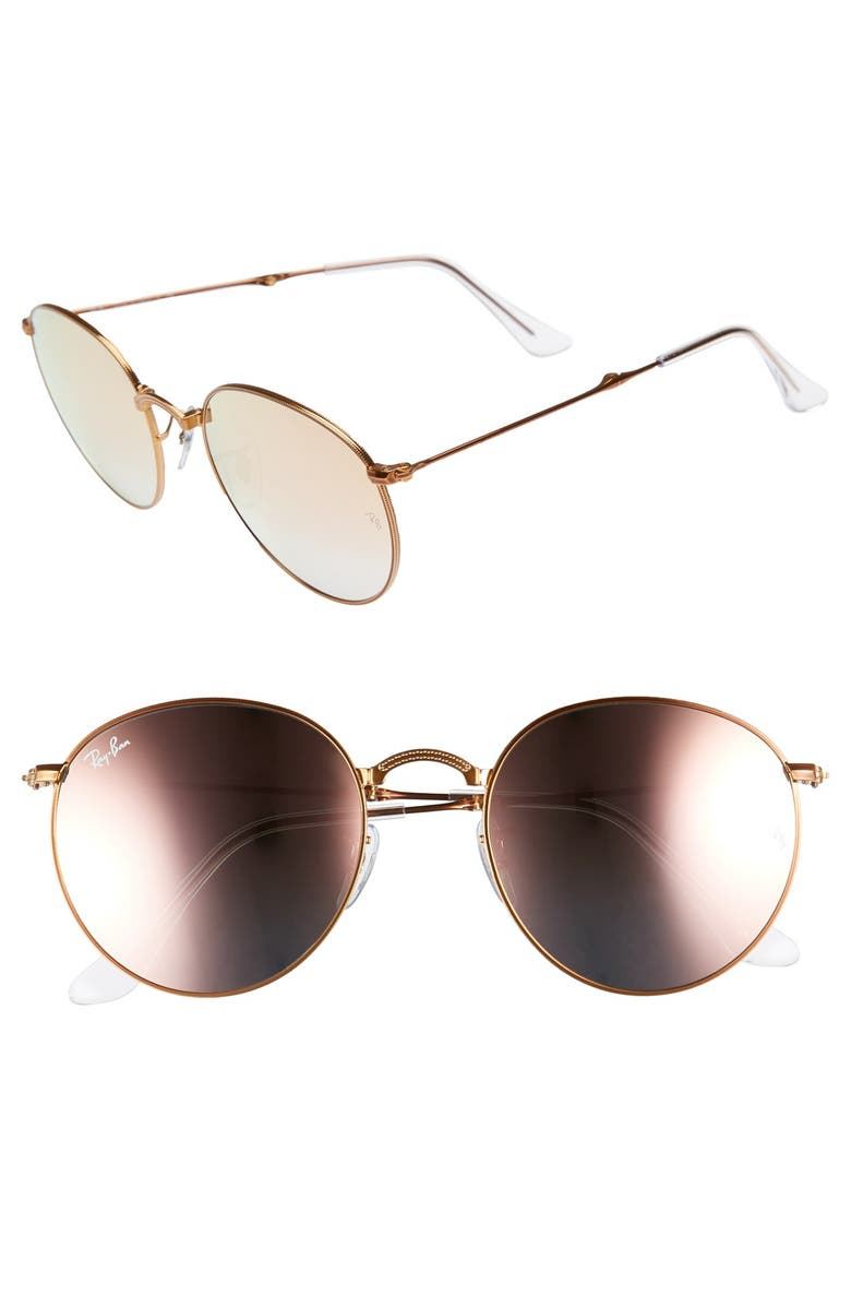 RAY-BAN Icons 53mm Folding Round Sunglasses, Main, color, COPPER FLASH