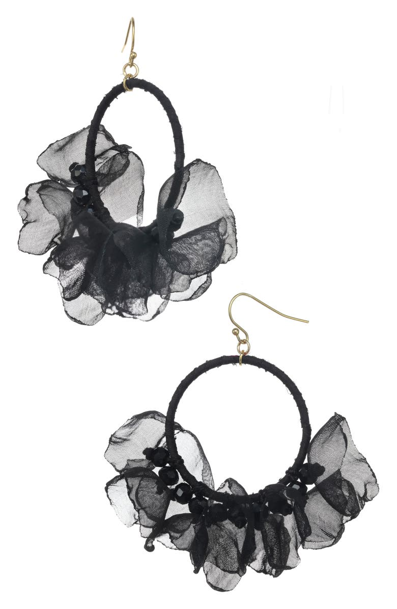 STELLA + RUBY Melody Chiffon Hoop Earrings, Main, color, GOLD-BLACK