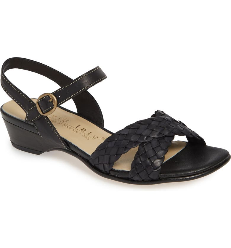 DAVID TATE Calabria Sandal, Main, color, BLACK LEATHER