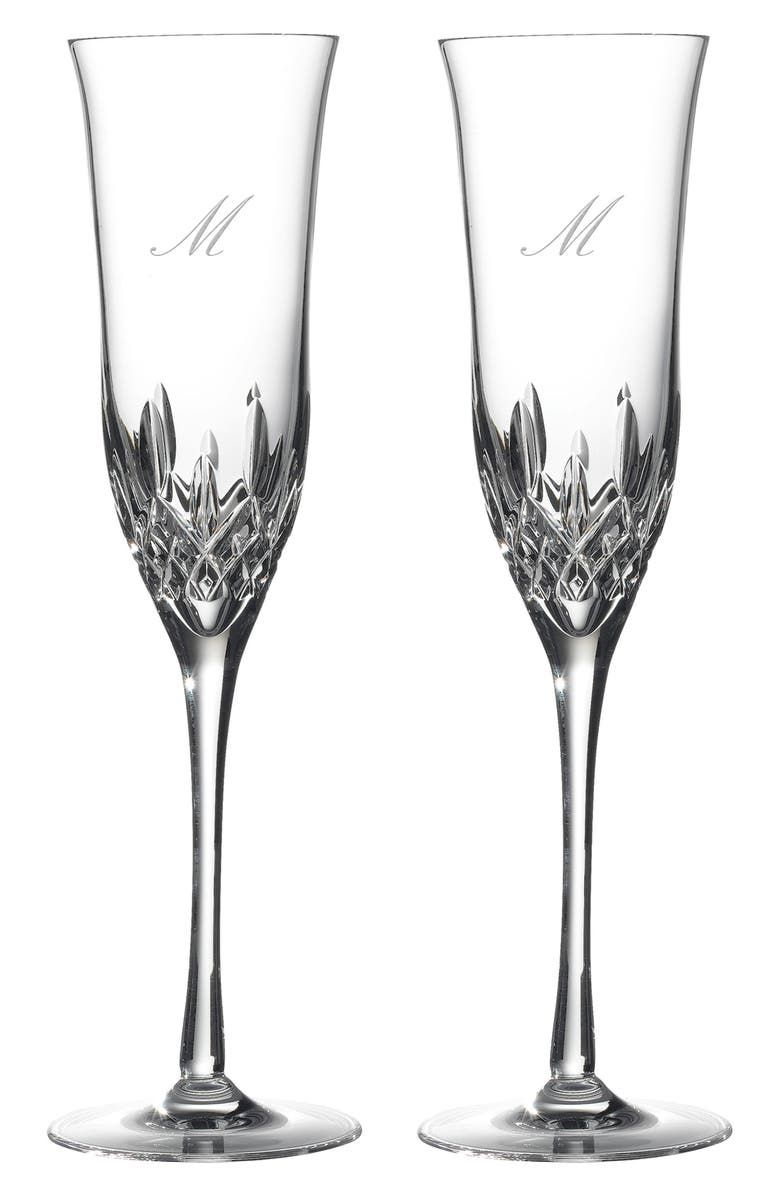 WATERFORD Lismore Essence Set of 2 Monogram Lead Crystal Champagne Flutes, Main, color, 100