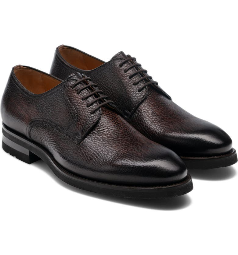 MAGNANNI Melich II Plain Toe Derby, Main, color, BROWN LEATHER