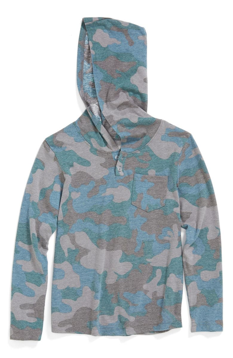 TUCKER + TATE 'Spencer' Pullover Hoodie, Main, color, TEAL CORAL- OVERSIZED CAMO