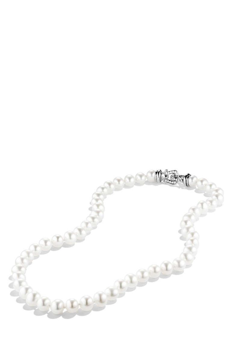DAVID YURMAN Pearl Necklace with Diamonds, Main, color, PEARL