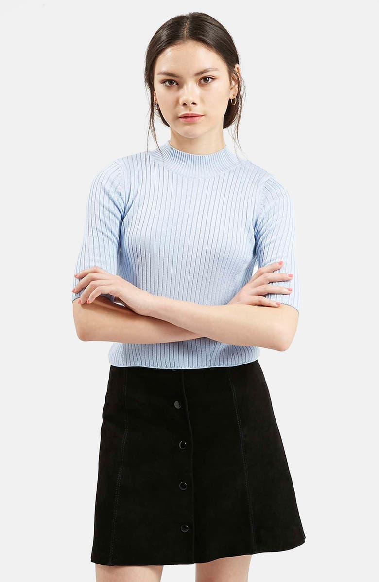 TOPSHOP Ribbed Funnel Neck Top, Main, color, 450