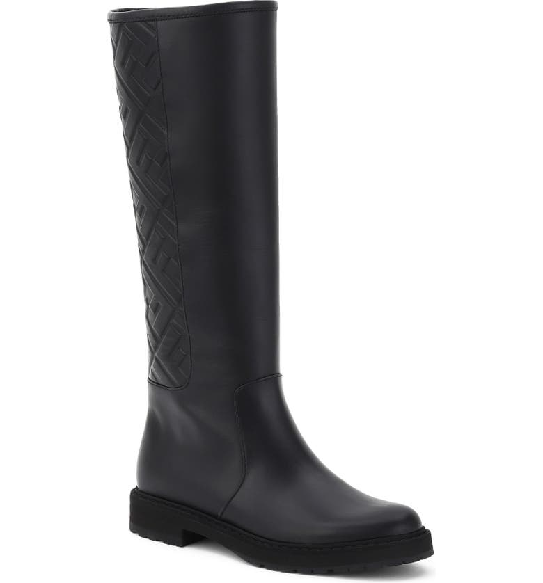 FENDI Logo Embossed Knee High Boot, Main, color, BLACK