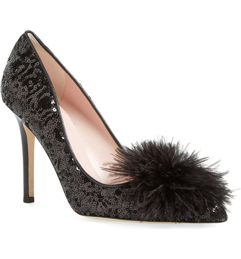 KATE SPADE NEW YORK 'lexa too' ostrich feather embellished pump, Main, color, 001