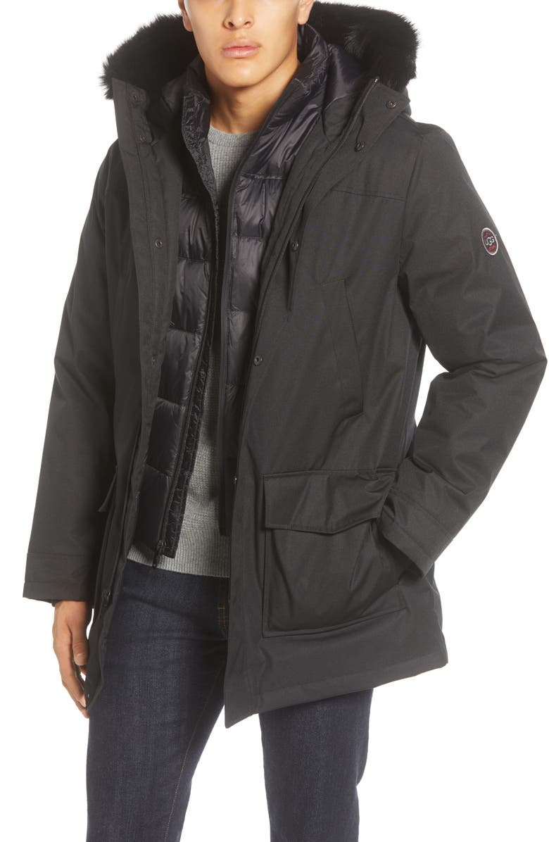 UGG<SUP>®</SUP> Butte 3-in-1 Down Parka with Genuine Shearling Trim, Main, color, BLACK