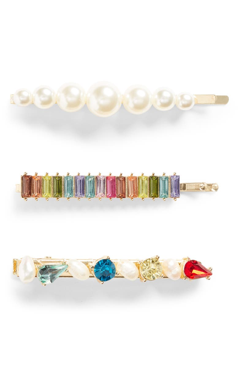 BP. Assorted 3-Pack Imitation Pearl & Crystal Hair Clips, Main, color, MULTI