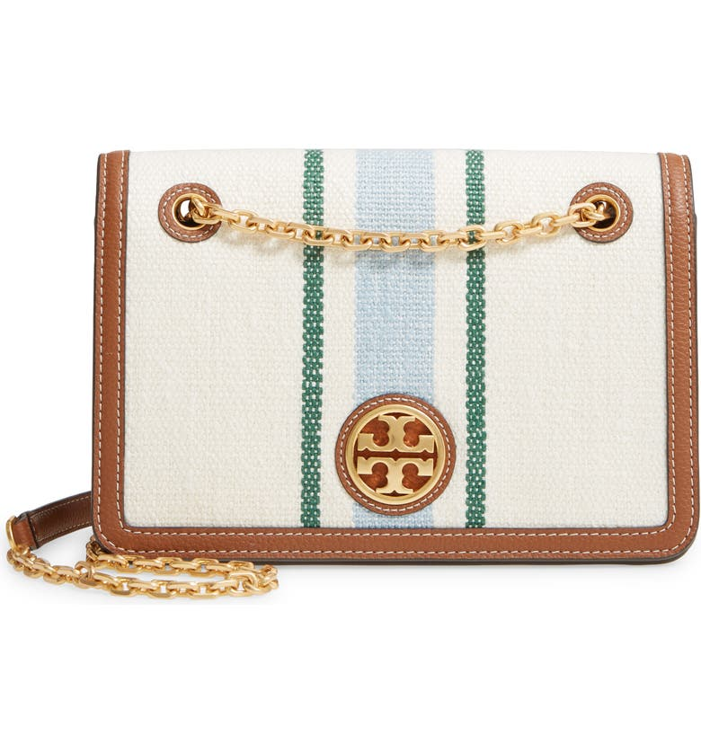 TORY BURCH Carson Striped Convertible Shoulder Bag, Main, color, NATURAL/ICICLE CARSON STRIPE