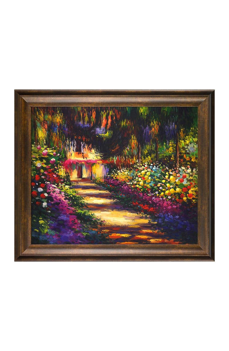 OVERSTOCK ART Pathway in Monet's Garden at Giverny - Framed Oil Reproduction of an Original Painting by Claude Monet, Main, color, MULTI