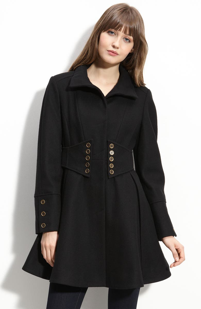 BETSEY JOHNSON Military Style Coat, Main, color, 001