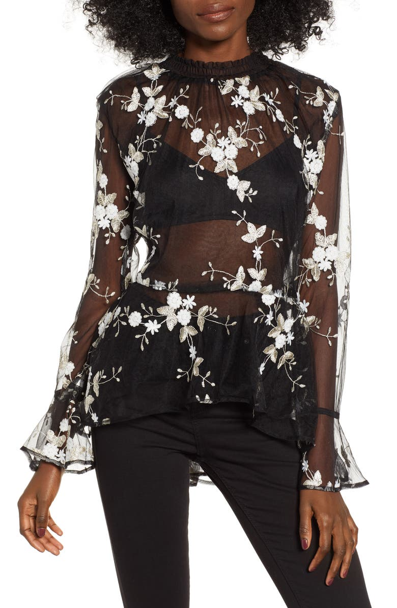 ENDLESS ROSE Embroidered Mesh Top, Main, color, 001