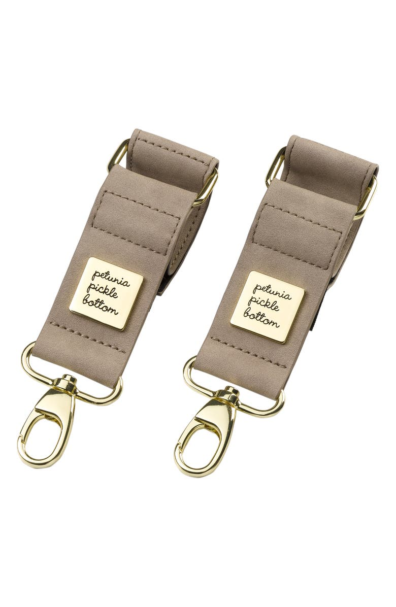 PETUNIA PICKLE BOTTOM Faux Leather Valet Stroller Clips, Main, color, GREY MATTE LEATHERETTE