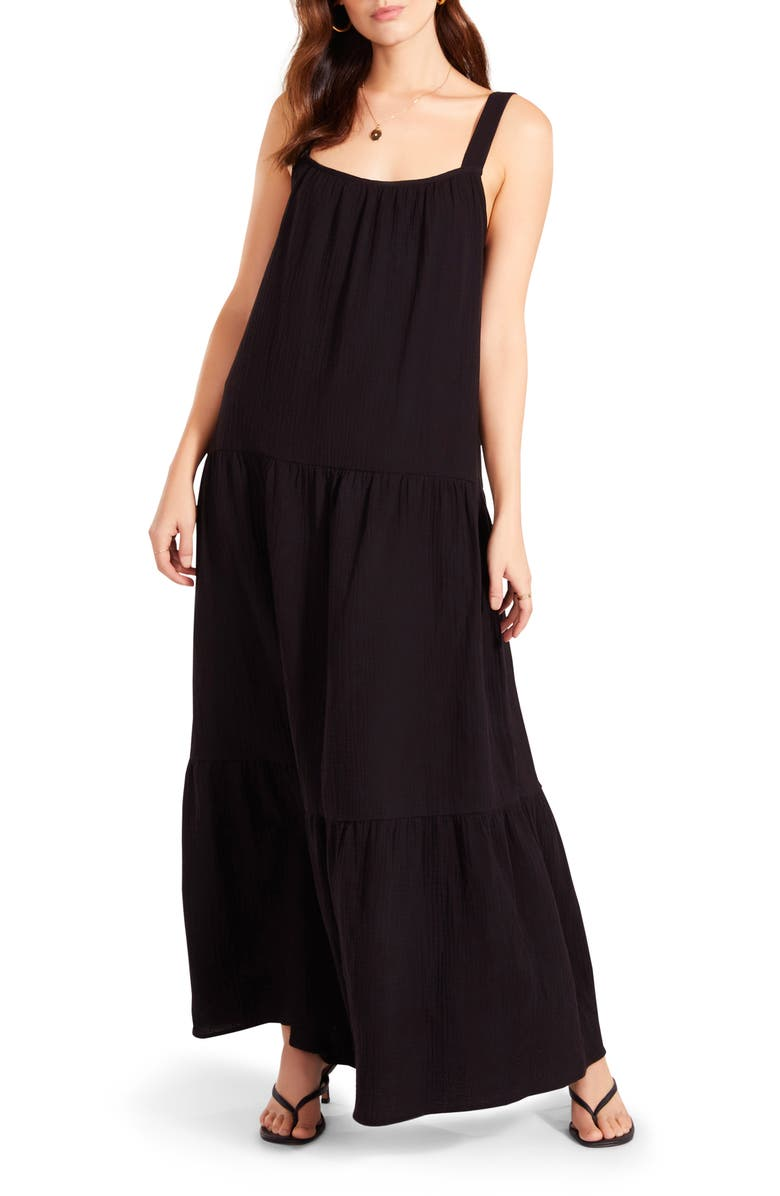 BB DAKOTA BY STEVE MADDEN Arianna Sleeveless Tiered Cotton Maxi Dress, Main, color, BLACK