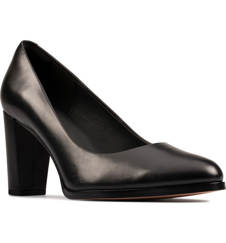 CLARKS<SUP>®</SUP> Kaylin Cara Pump, Main, color, BLACK/ BLACK LEATHER