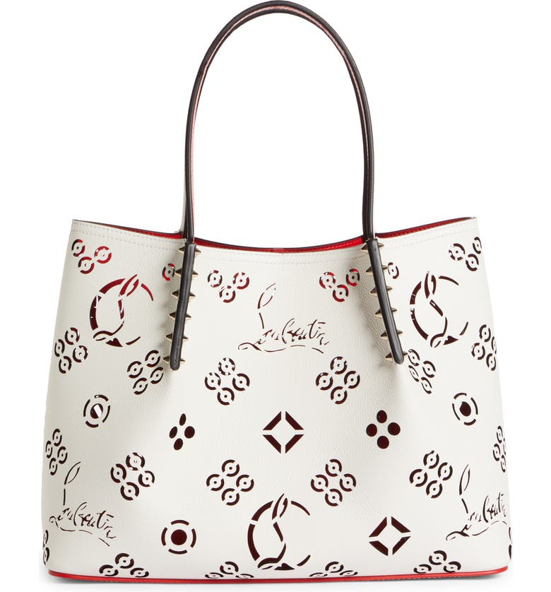 CHRISTIAN LOUBOUTIN Small Cabarock Loubinthesky Perforated Leather Tote, Main, color, SNOW-LOUBI/ SNOW