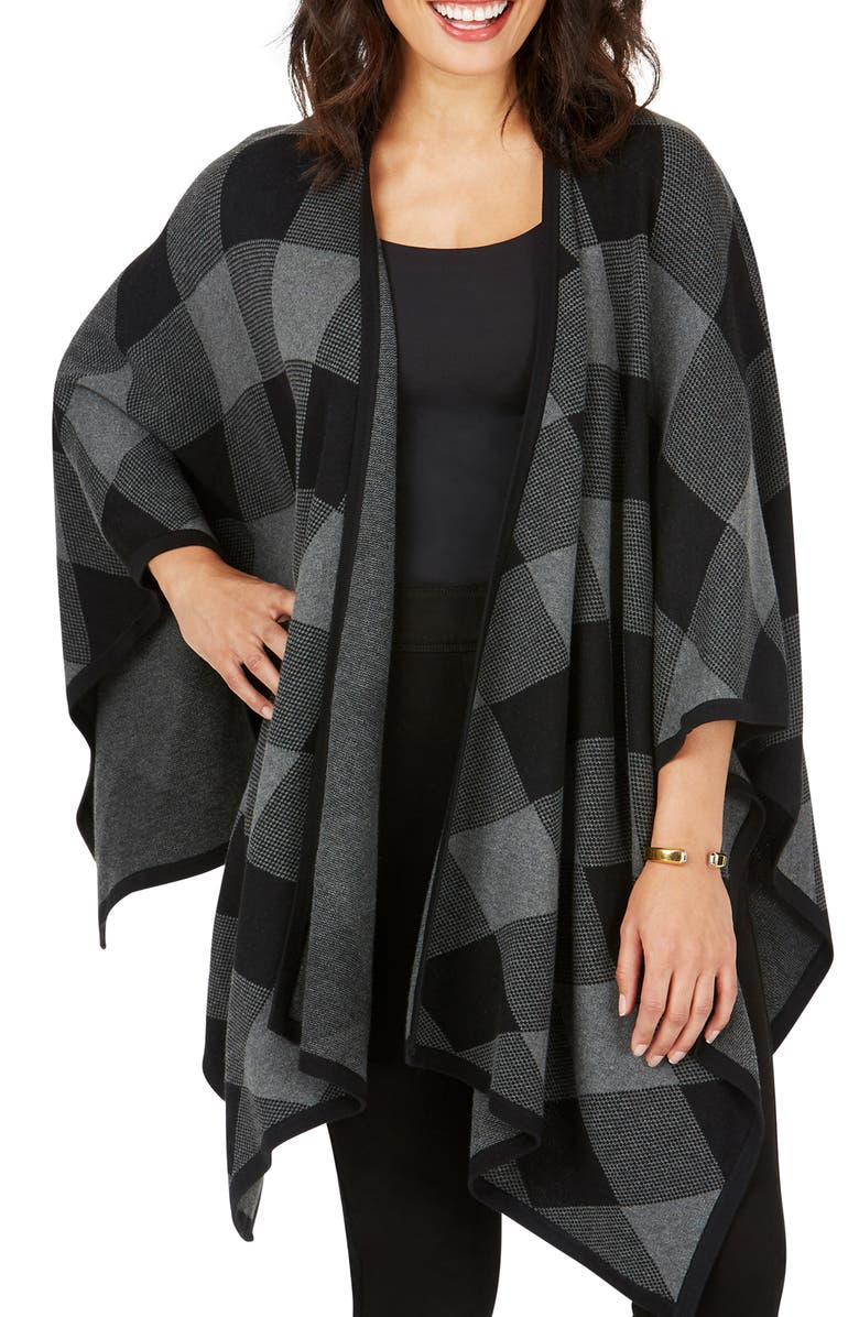 FOXCROFT Walker Check Plaid Ruana, Main, color, 001