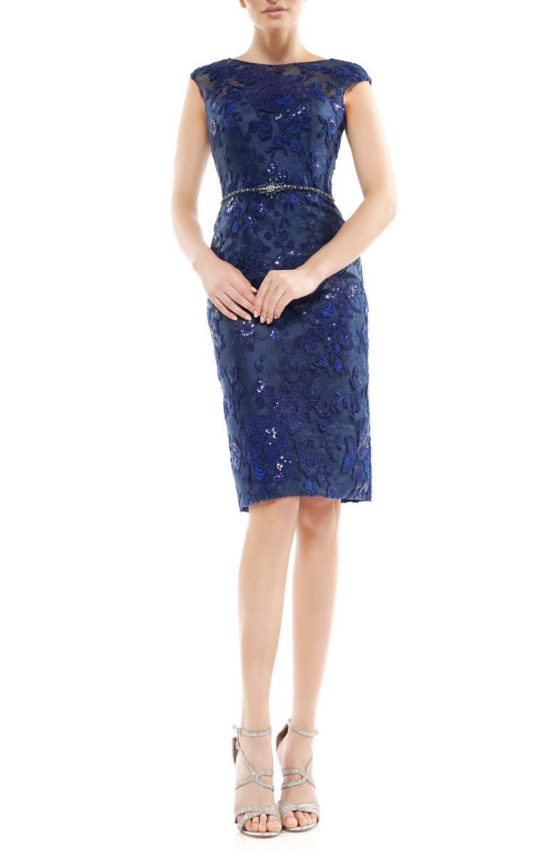 MARSONI Floral Embroidered Crystal Belted Cocktail Dress, Main, color, 400