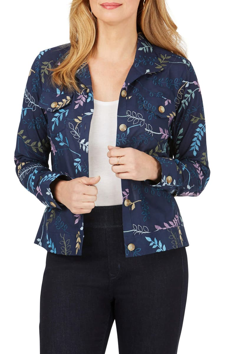 FOXCROFT Embroidered Jacket, Main, color, NAVY