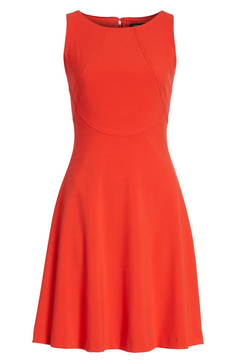 TAHARI Seamed Knit Fit & Flare Dress, Main, color, RED PEPPER