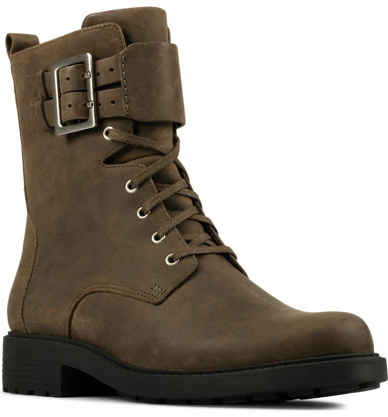 CLARKS<SUP>®</SUP> Orinoco 2 Combat Boot, Main, color, DARK OLIVE LEATHER
