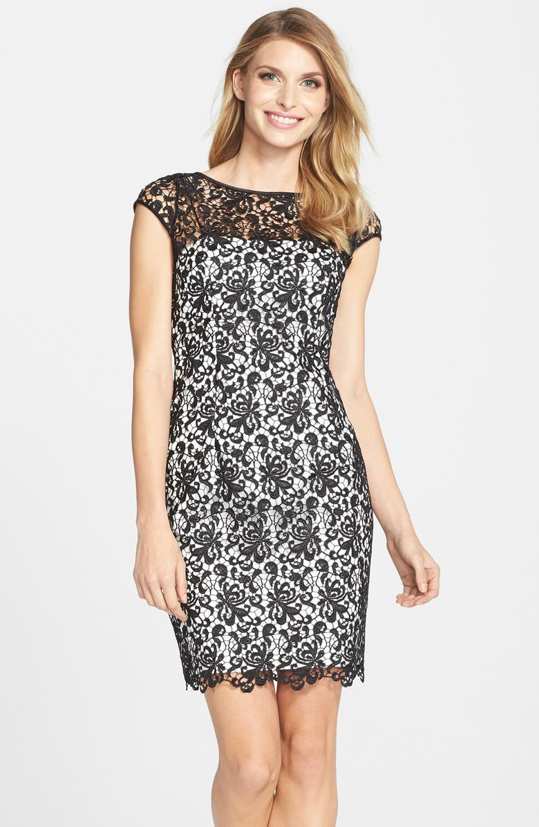 ADRIANNA PAPELL Lace Shift Dress, Main, color, 003