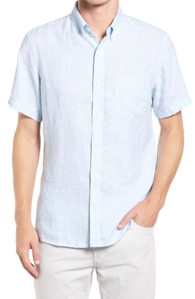 NORDSTROM Solid Linen Short Sleeve Button-Down Shirt, Main, color, TEAL DOLPHIN
