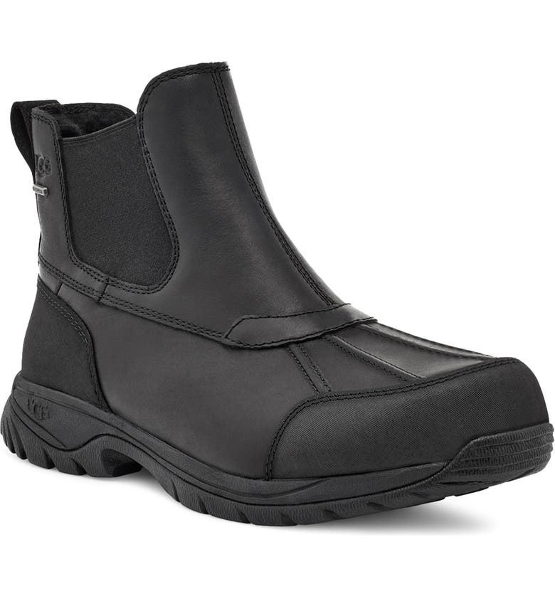 UGG<SUP>®</SUP> Butte Waterproof Chelsea Boot, Main, color, BLACK LEATHER