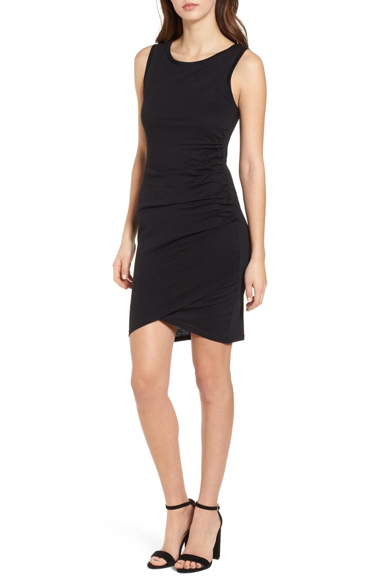 LEITH Ruched Body-Con Tank Dress, Main, color, 001