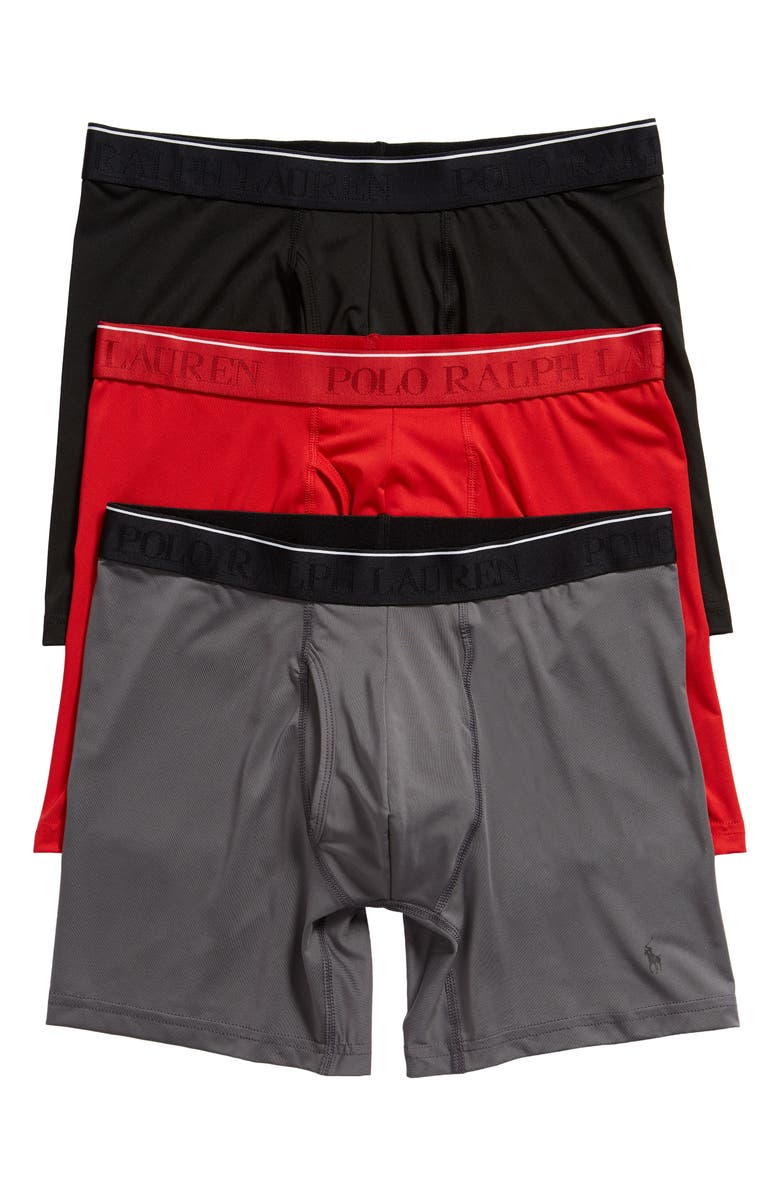 POLO RALPH LAUREN Assorted 3-Pack Microfiber Boxer Briefs, Main, color, BLACK/ GREY/ RED