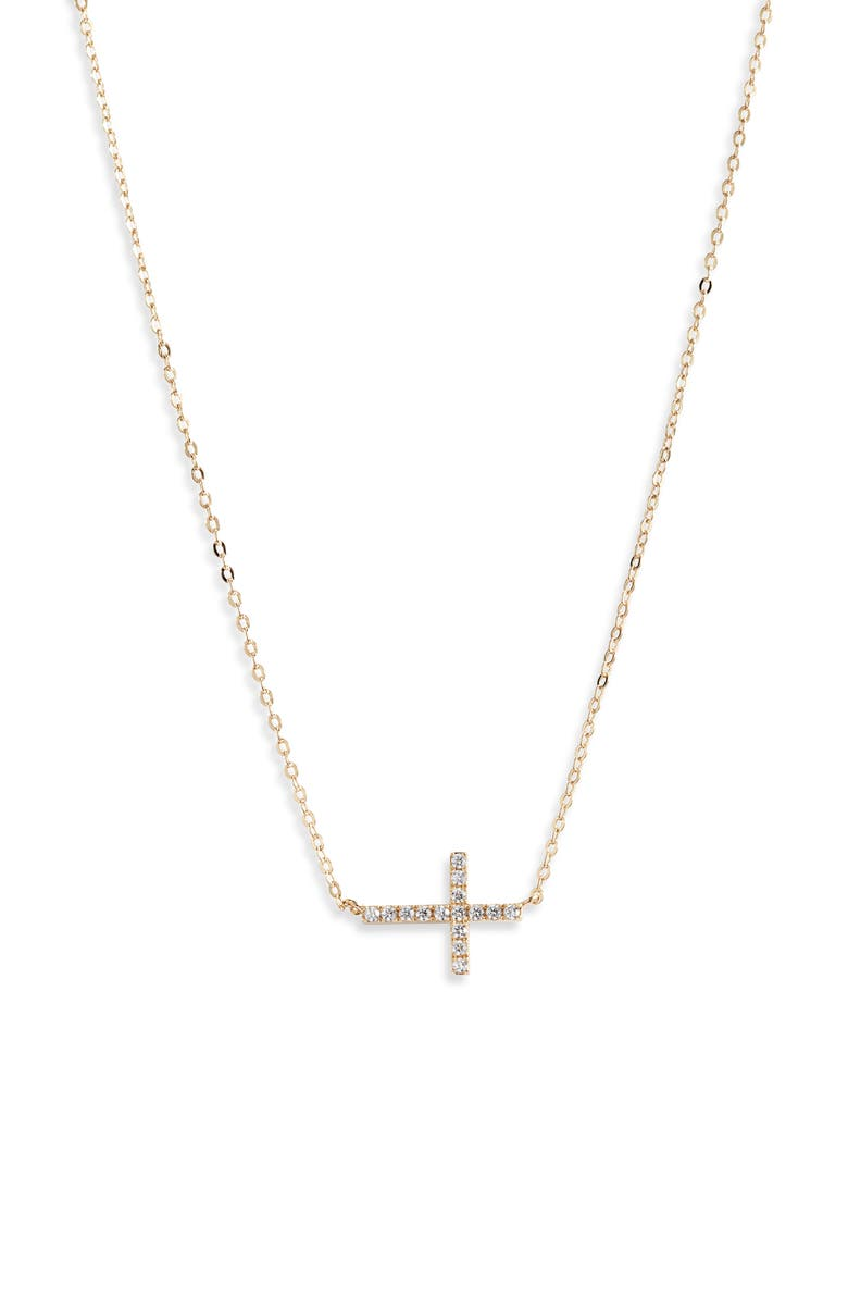 NORDSTROM Cubic Zirconia Horizontal Cross Necklace, Main, color, CLEAR- GOLD