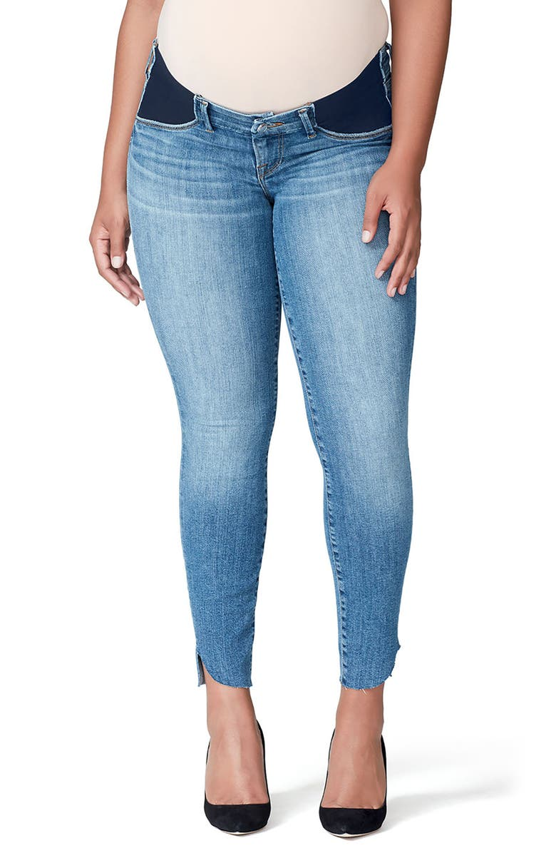 GOOD AMERICAN Good Mama The Honeymoon Low Rise Cascade Hem Maternity Skinny Jeans, Main, color, 401