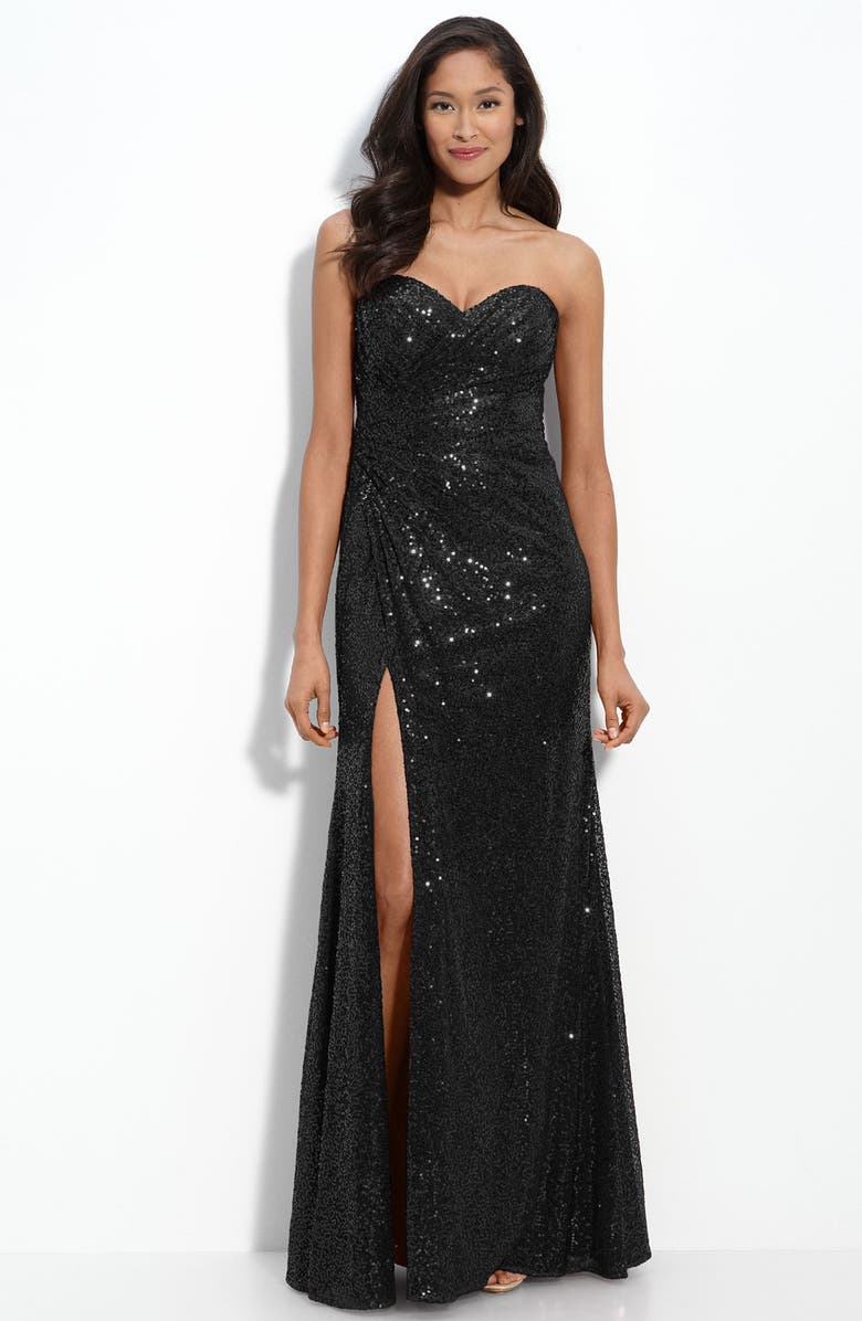 LA FEMME Strapless Sequin Gown, Main, color, 001