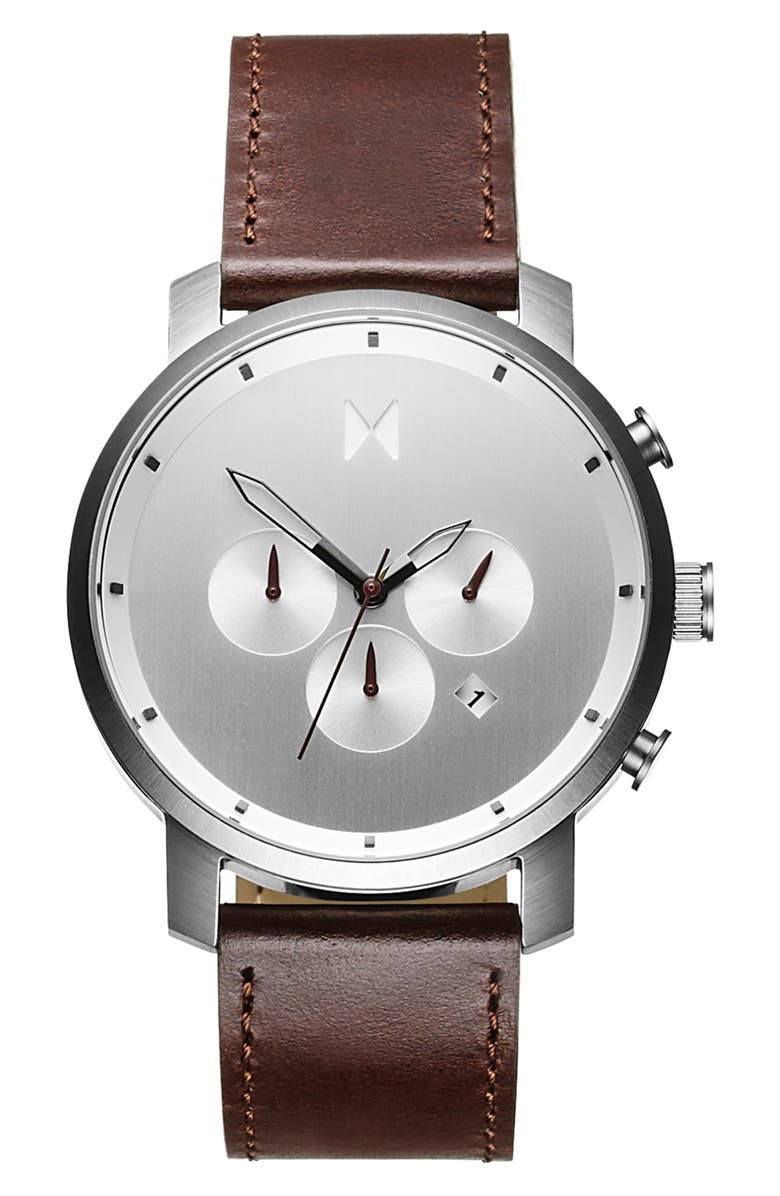 MVMT The Chrono Chronograph Leather Strap Watch, 45mm, Main, color, BROWN/ SILVER