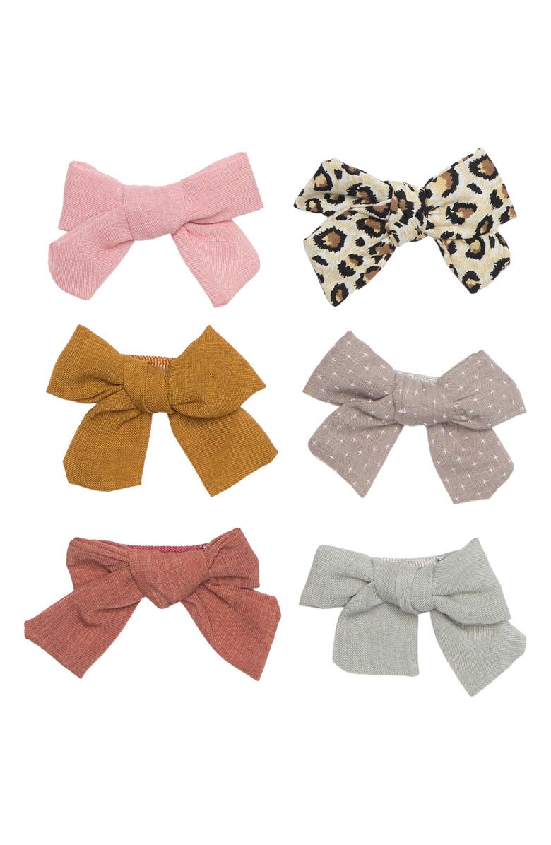 CAPELLI NEW YORK woven Assorted Bow - Pack of 6, Main, color, PALE MULTI