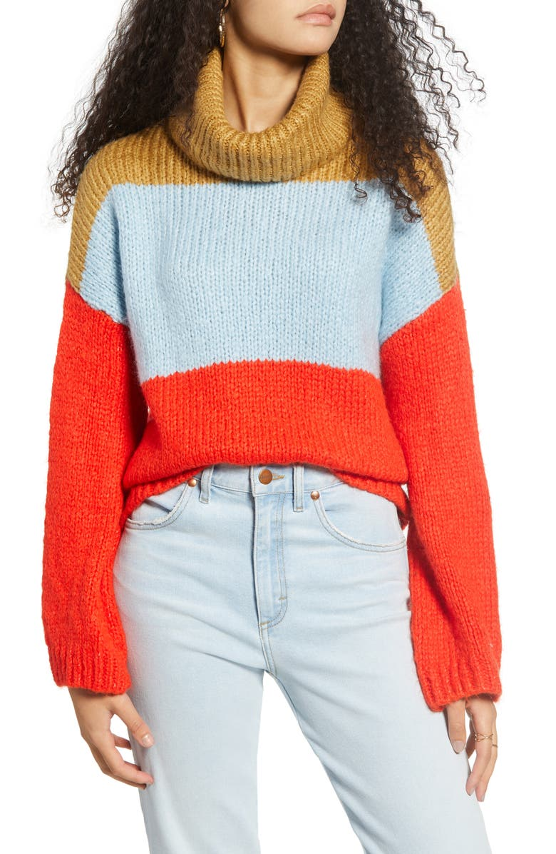 WOVEN HEART Chunky Colorblock Turtleneck Sweater, Main, color, 400