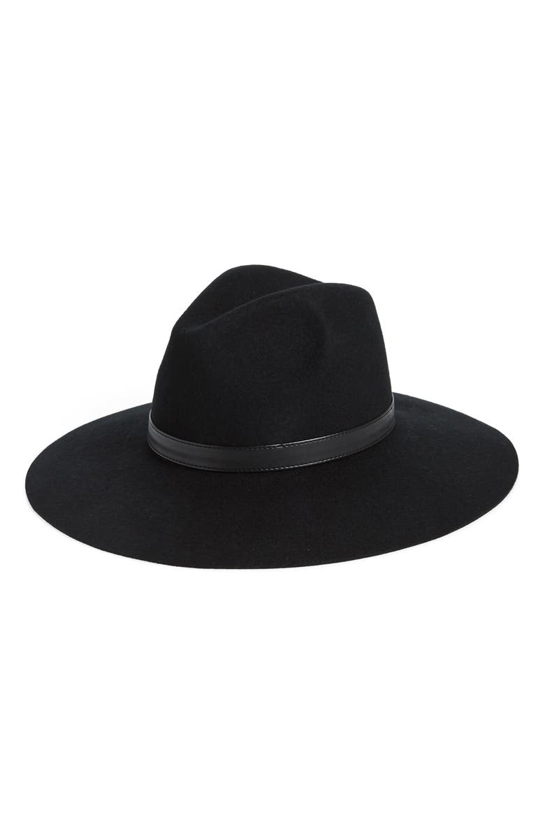 SOLE SOCIETY Wide Brim Wool Hat, Main, color, Black