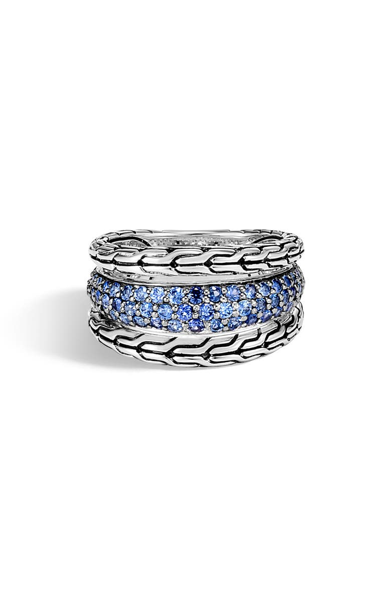 JOHN HARDY Classic Chain Blue Sapphire Ring, Main, color, SILVER/ BLUE SAPPHIRE