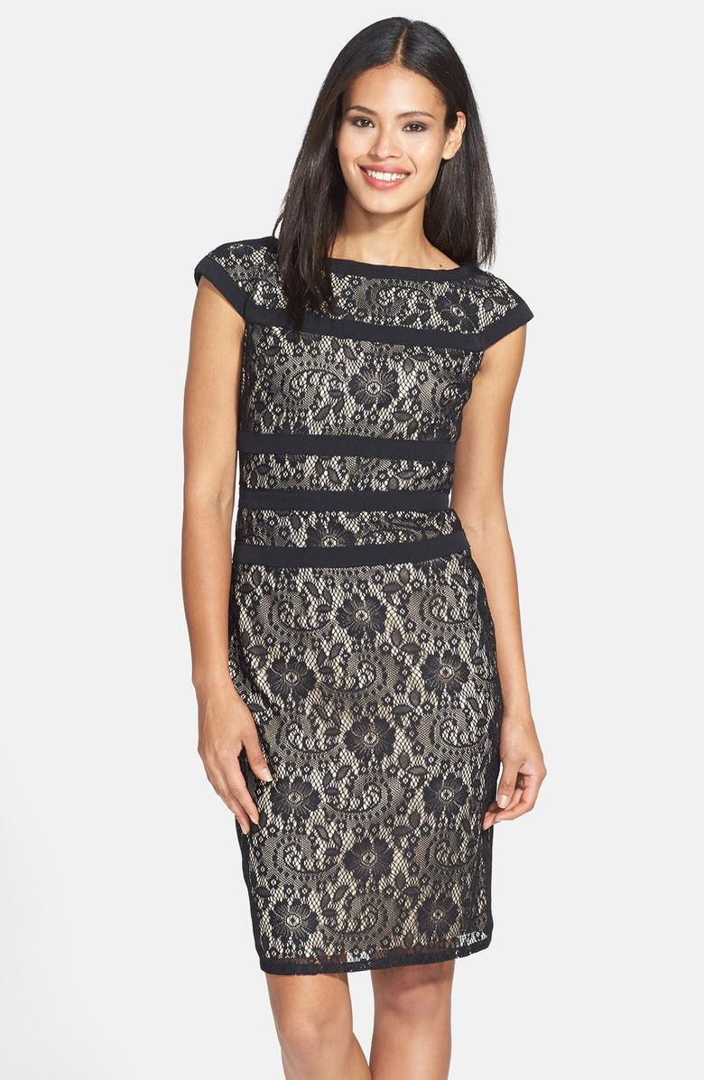 ADRIANNA PAPELL Lace Sheath Dress, Main, color, 001