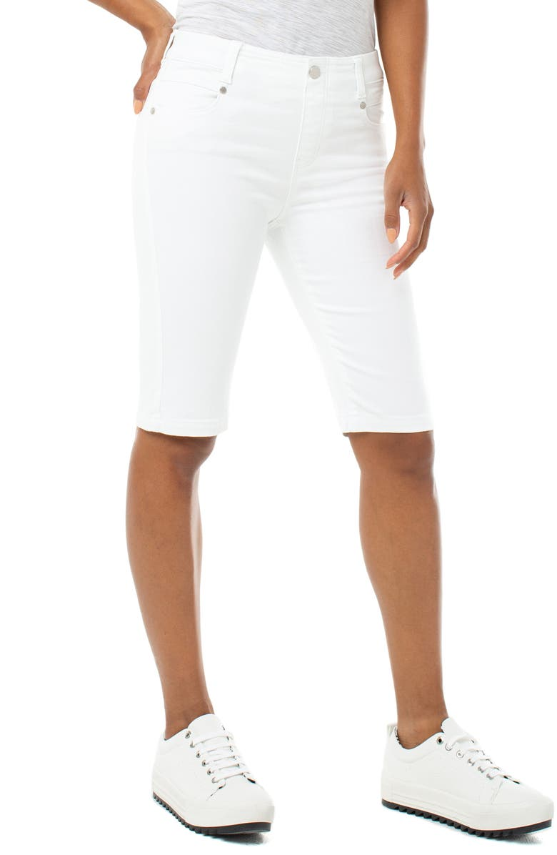 LIVERPOOL Gia Glider Cruiser Denim Shorts, Main, color, BRIGHT WHITE