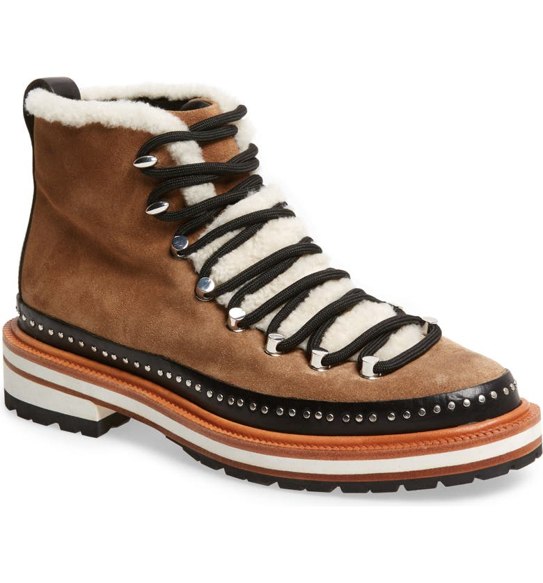 RAG & BONE Compass Genuine Shearling Combat Boot, Main, color, 200