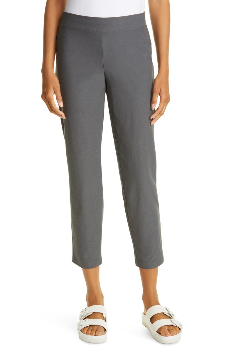 EILEEN FISHER Slim Ankle Pants, Main, color, SLATE